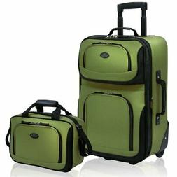 Rio Rugged Fabric Expandable Carry-On Luggage Set, Green, 2-