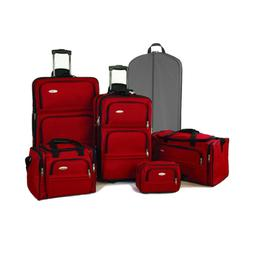 Ultralite 5-Piece Expandable Luggage Set - Ruby Red
