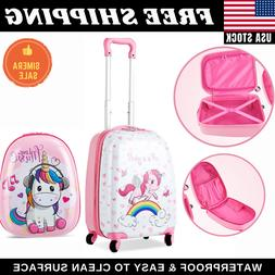 "Unicorn Kids Carry on Luggage Set 12"" Backpack and 16"" Rolli"