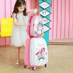 Unicorn Kids Luggage Set 12  Backpack And 16  Rolling Suitca