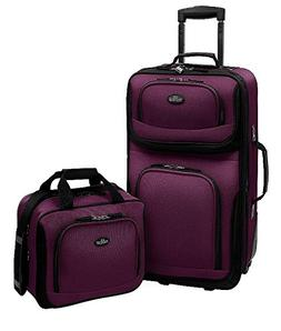 US Traveler Rio Two Piece Expandable Carry-On Luggage Set, e