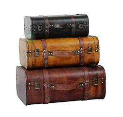 Vintiquewise 3-Colored Vintage Style Luggage Suitcase/Trunk,