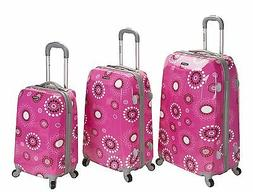 Rockland Vision Pink Circles Light Weight 3-piece Hardside S