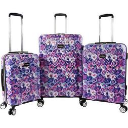 BEBE Women's Gia 3pc Suitcase Set with Spinner Wheels, Purpl