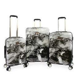 BEBE Women's Teresa 3pc Spinner Suitcase Set, Black Marble